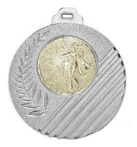 """Medaille """"Capua"""" Ø 50mm mit Wunschemblem und Band silber"""
