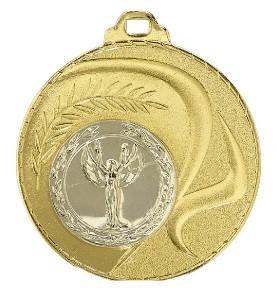 """Medaille """"Santorin"""" Ø 50mm mit Wunschemblem und Band gold"""