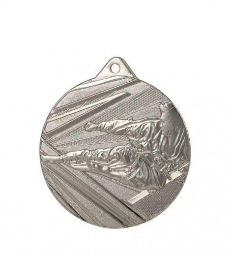 """Medaille """"Karate"""" 1 Ø 50mm mit Band Silber"""