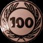 Emblem 25 mm Ehrenkranz mit 100, bronze