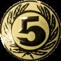 Emblem 25 mm Ehrenkranz mit 5, gold