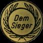 Emblem 25 mm Kranz Dem Sieger, gold