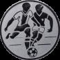 Emblem 25mm 2 Fußballer, silber