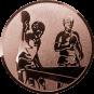 Emblem 25mm 2 Tischtennisspieler, bronze