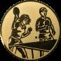 Emblem 25mm 2 Tischtennisspieler Mix, gold
