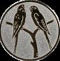 Emblem 25mm 2 Vögel auf Astgabel, silber