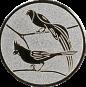 Emblem 25mm 2 Vögel links, silber