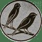 Emblem 25mm 2 Vögel rechts, silber
