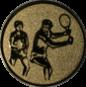 Emblem 25mm 2Tennisspieler, gold