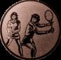 Emblem 25mm 2Tennisspielerinnen, bronze