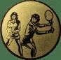 Emblem 25mm 2Tennisspielerinnen, gold