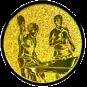 Emblem 25mm 2Tischtennisspieler, gold