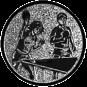 Emblem 25mm 2Tischtennisspieler Mix, silber
