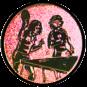 Emblem 25mm 2Tischtennisspielerinen, bronze