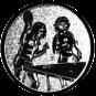 Emblem 25mm 2Tischtennisspielerinen, silber