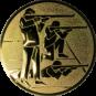 Emblem 25mm 3 Schützen s,k,l, gold schießen