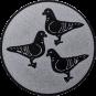 Emblem 25mm 3 Tauben, silber