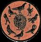 Emblem 25mm 9 Tauben (Kreis), bronze