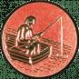 Emblem 25mm Angler im Boot 3D, bronze