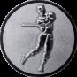 Emblem 25mm Baseball Spieler, 3D silber