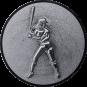Emblem 25mm Baseball Spielerin, 3D silber