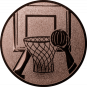 Emblem 25mm Basketball m. Korb 2, bronze