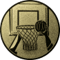 Emblem 25mm Basketball m. Korb 3D, gold