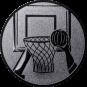 Emblem 25mm Basketball m. Korb 2, silber