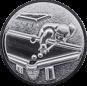 Emblem 25mm Billardspieler links 3D, silber