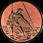 Emblem 25mm Fliegenangerler im Wasser, bronze