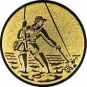 Emblem 25mm Fliegenangerler im Wasser, gold
