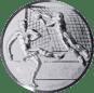 Emblem 25mm Fußballer, Torwart, Tor, 3D, silber