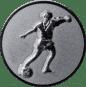 Emblem 25mm Fußballspieler m. Ball, 3D silber