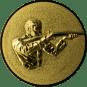 Emblem 25mm Gewehrschütze rechts 3D, gold schießen