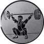 Emblem 25mm Gewichtheber Reissen, silber