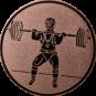 Emblem 25mm Gewichtheber Stossen, bronze
