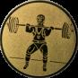Emblem 25mm Gewichtheber Stossen, gold