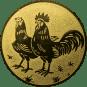 Emblem 25mm Hahn und Henne, gold