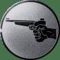 Emblem 25mm Hand mit Pistole, silber schießen