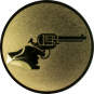 Emblem 25mm Hand mit Revolver, gold schießen