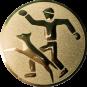 Emblem 25mm Hundesport mit Führer, gold
