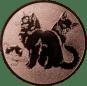 Emblem 25mm Katzen, bronze