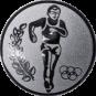 Emblem 25mm Laeufer Olympia, silber