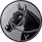 Emblem 25mm Pferdekopf, silber