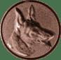Emblem 25mm Schäferhund 3D, bronze
