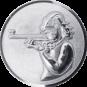 Emblem 25mm Schützin m. Gewehr 3D, silber schießen