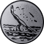 Emblem 25mm Schwimmer Rücken, silber
