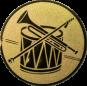 Emblem 25mm Trommel Trompete, gold