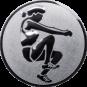 Emblem 25mm Weitspringerin, silber