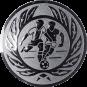Emblem 50 mm 2 Fußballer m. Ehrenkranz, silber